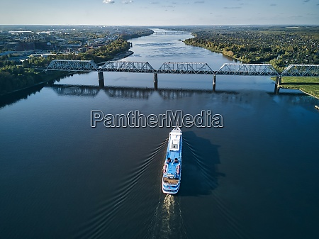ship moving along volga river