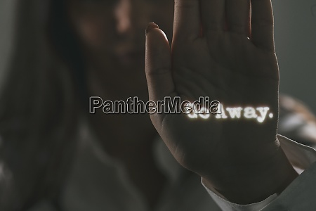 woman with projected words on her
