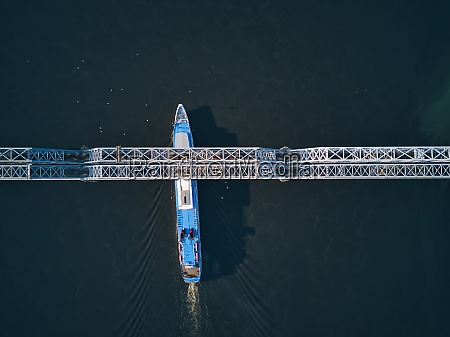 ship passing below bridge on volga