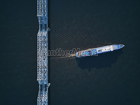 aerial view of ship on volga