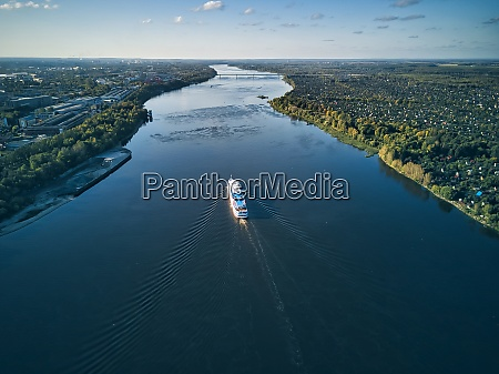 ship moving on volga river against