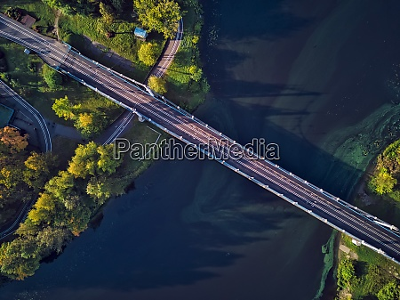 drone shot of bridge over kotorosl