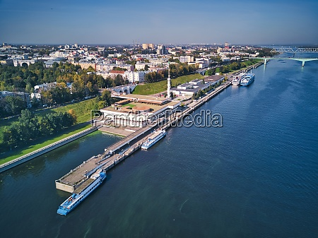 aerial view of volga river embankment