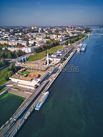 aerial view of embankment at volga