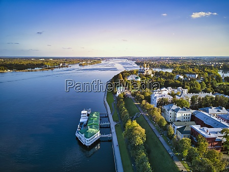 drone shot of embankment at volga