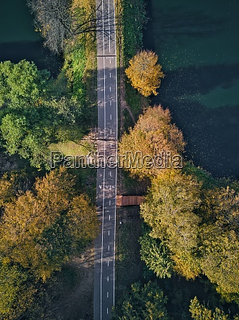 aerial view of empty road
