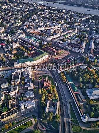 aerial view of yaroslavl city with