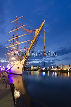 germany bremerhaven illuminated ships in harbour