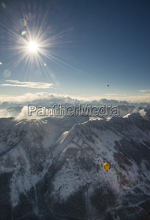 austria salzkammergut hot air balloons over