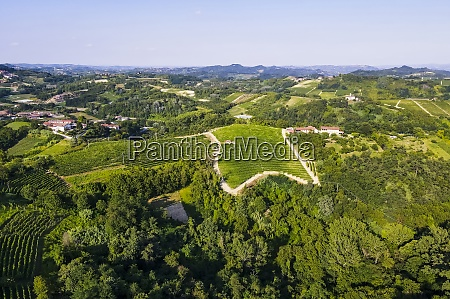 drone view of green countryside landscape