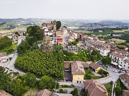 drone view of old rural town