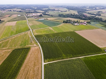 drone view of countryside fields