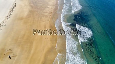 aerial view of edge of sandy