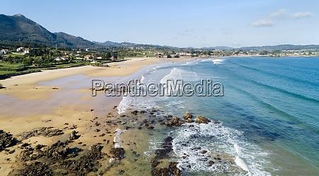 aerial view of sandy coastal beach