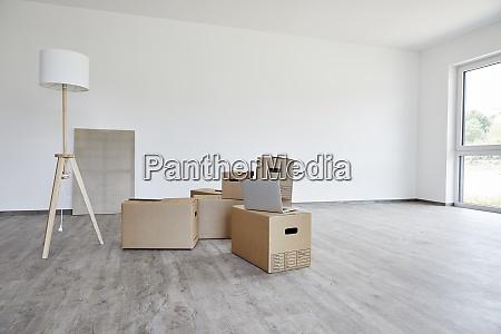 interior of modern room with cardboard