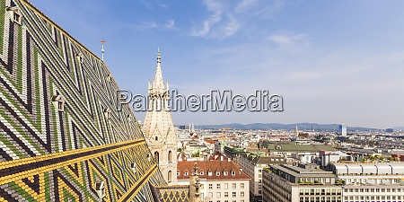 austria vienna cityscape with colored roof