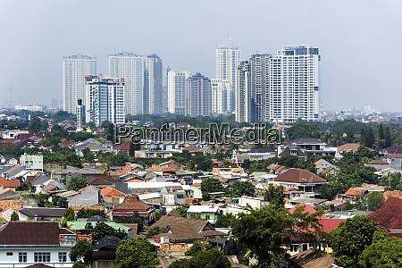 indonesia jakarta cityview with deprived area