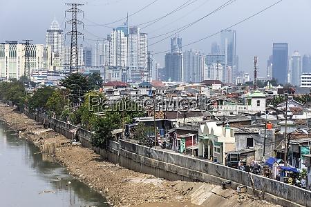 indonesia jakarta cityview slum with sewer