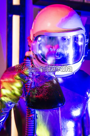 close up of male astronaut wearing