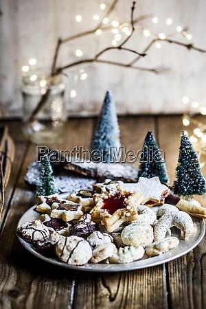 plate of freshly baked christmas cookies