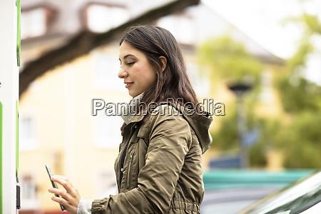 beautiful woman using smart phone for