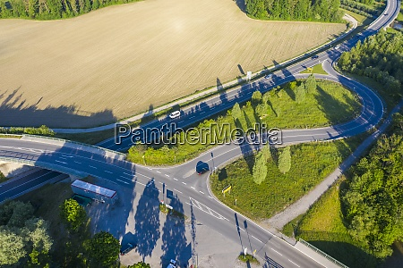 drone view ofb472 highway stretching through