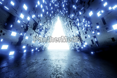 three dimensional render of blue glowing