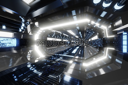 3d rendered illustrationof futuristic spaceship corridor