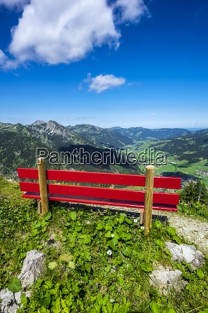 austria, , tyrol, , red-painted, bench, along, trail - 29126591