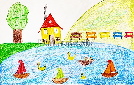 childs drawing with sailing boats and