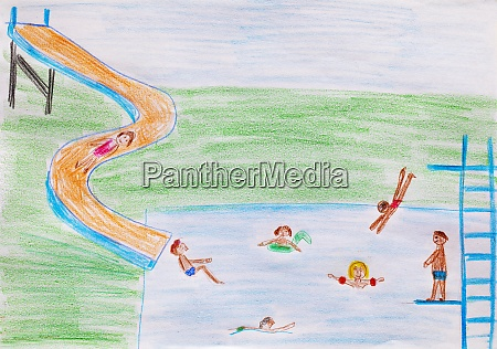 childs drawing of outdoor pool with