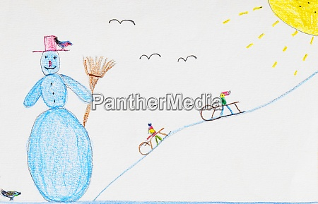 childrens drawing of snowman and sledging