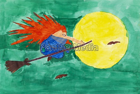 childrens painting of redheaded witch riding