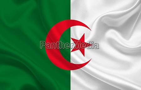 algeria country flag on wavy silk