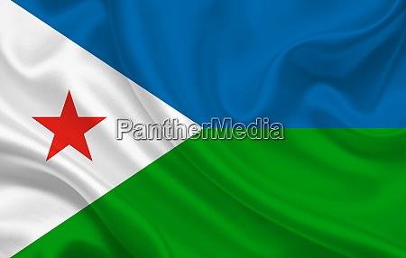 djibouti country flag on wavy silk