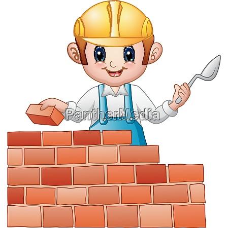 vector illustration of cartoon man builder