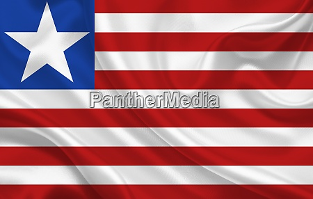liberia country flag on wavy silk
