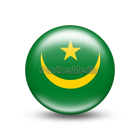 mauritania country flag in sphere with