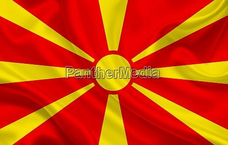 macedonia country flag on wavy silk