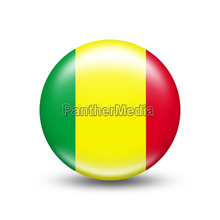 mali country flag in sphere with