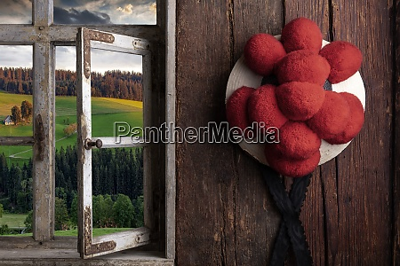 view from a rustic farmhouse through