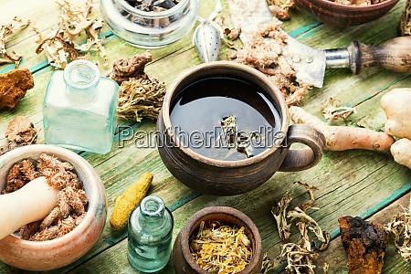 tea and a set of medicinal