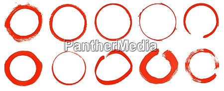 10 red hand painted empty circles