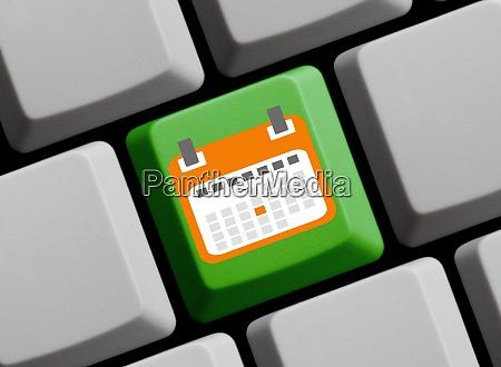 online calendar or schedule green