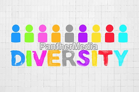 colorful diversity concept on white wall