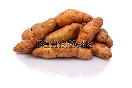 raw bamberger hoernle potatoes on white