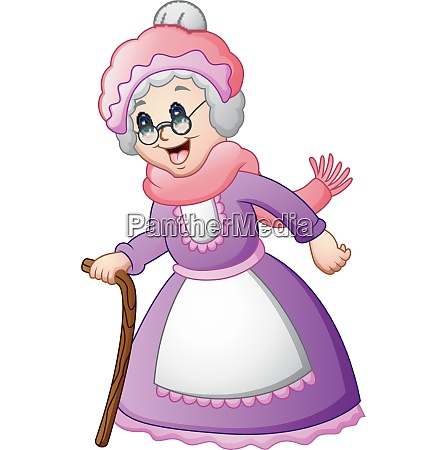old woman with walking a stick