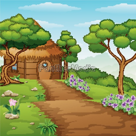 cartoon wood cabin in the forest