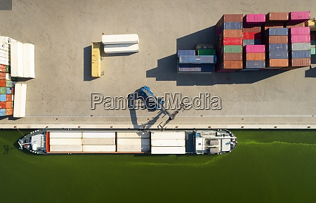 containers stored in a terminal bordering