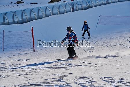 children skiing at formigal spain
